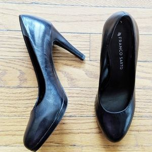 Franco Sarto Black Leather Pumps, Size 6.5